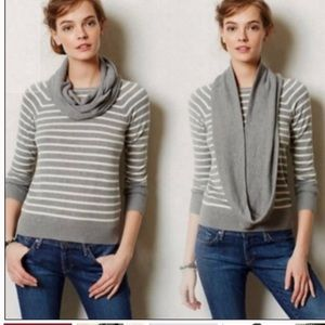 Anthro Change of the Moon Striped Scarf Sweater